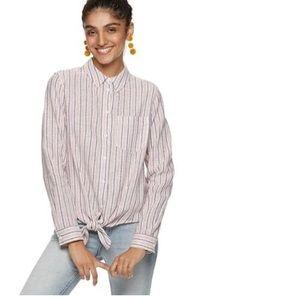 Popsugar linen blend tie front button up shirt